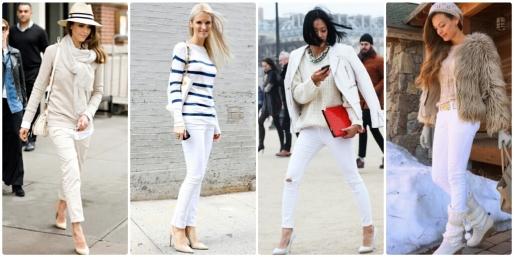 Dicas, Moda, Fashion, Look Total White, Branco, Tons Claros, Inverno, P&B, Jeans, Estampa, Cor
