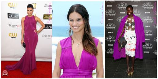 Cor do Dia, Orquídea Radiante, Color of the Year, Radiant Orchid, Seleção, Eva Longoria, Adriana Lima, Jeneil Williams